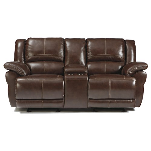 Signature Design by Ashley Lenoris - Coffee Leather Match Glider Reclining Loveseat w/ Console