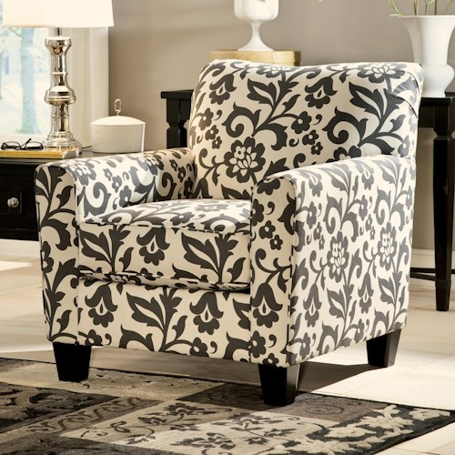 Signature Design by Ashley Levon  - Charcoal Accent Chair in Floral Print