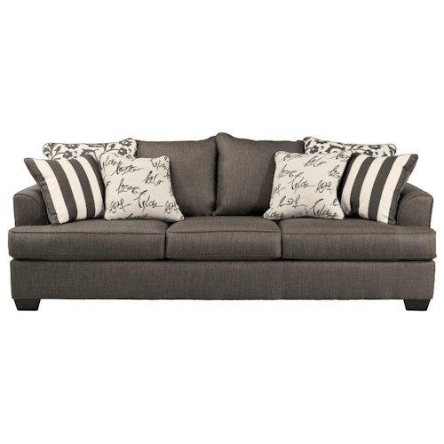 Signature Design by Ashley Levon - Charcoal Sofa with Scatterback Pillows and Plush Coil Seat Cushions
