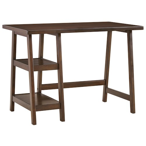 Signature Design by Ashley Lewis Contemporary Home Office Small Desk with 2 Open Shelves