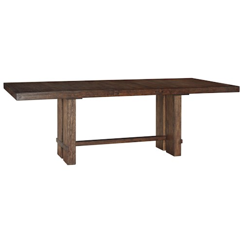 Signature Design by Ashley Leystone Industrial Rectangular Dining Table with 2 Pedestals and Trestle