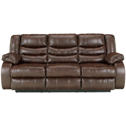 Ashley/Benchcraft Linebacker DuraBlend - Espresso Contemporary Reclining Sofa with Pillow Arms