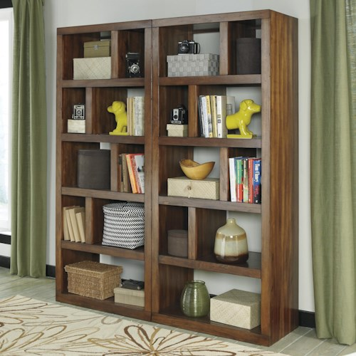 Signature Design by Ashley Lobink 2-Piece Contemporary Bookcase Set with Open, Asymmetrical Shelves