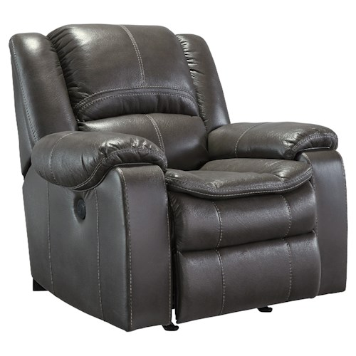 Signature Design by Ashley Long Knight Faux Leather Rocker Recliner with Contoured Pillow Top Seat