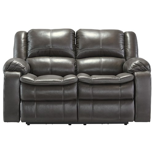 Signature Design by Ashley Long Knight Faux Leather Reclining Power Loveseat with Contoured Pillow Top Seats