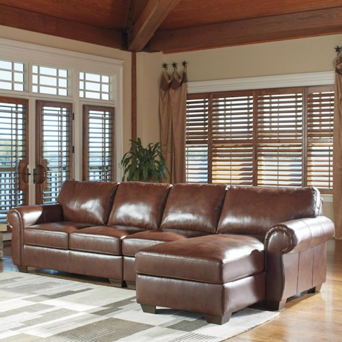 Signature Design by Ashley Lugoro Leather Match 3-Piece Sectional with Right Chaise