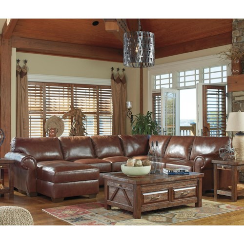Signature Design by Ashley Lugoro Leather Match 4-Piece Sectional with Right Chaise