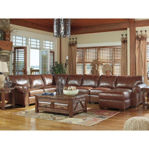 Signature Design by Ashley Lugoro Leather Match 5-Piece Sectional with Right Chaise