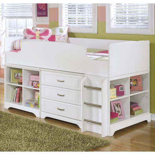 Signature Design by Ashley Lulu Twin Loft Bed w/ Loft Bin & Drawer Storage