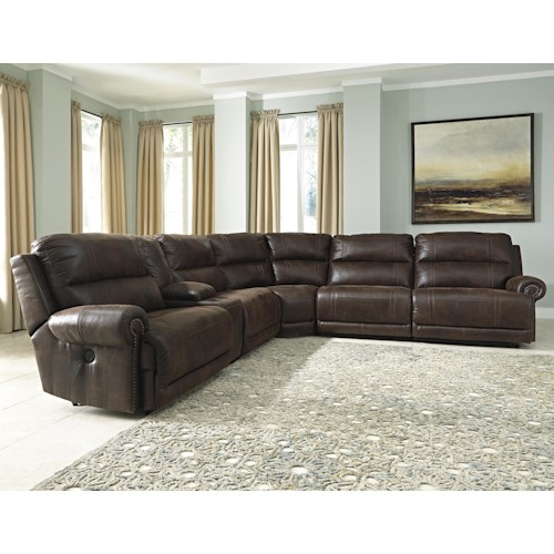 Signature Design by Ashley Luttrell 6-Piece Reclining Sectional with Console & Armless Recliners