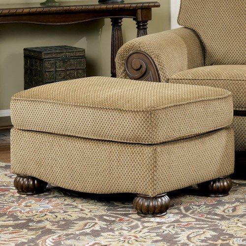 Signature Design by Ashley Lynnwood - Amber Ottoman With Carved Bun Feet