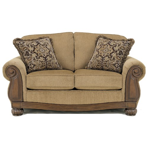Signature Design by Ashley Lynnwood - Amber Loveseat with Carved Wood Accents
