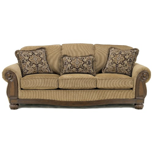 Signature Design by Ashley Lynnwood - Amber Sofa with Carved Wood Accents