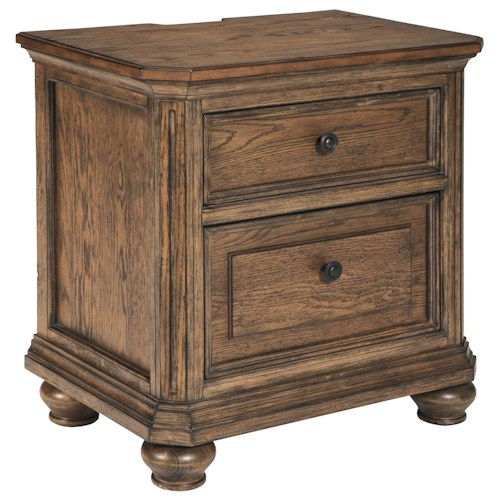 Signature Design by Ashley Maeleen Two Drawer Night Stand with Electric Outlets & USB Chargers