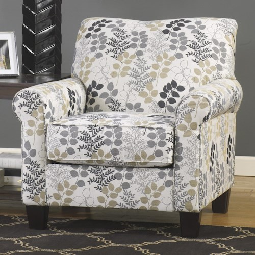 Signature Design by Ashley Makonnen Contemporary Accent Chair in Leaf Print