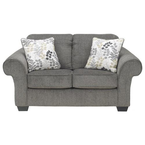 Signature Design by Ashley Carolina Loveseat with Large Rolled Arms and Coil Seating