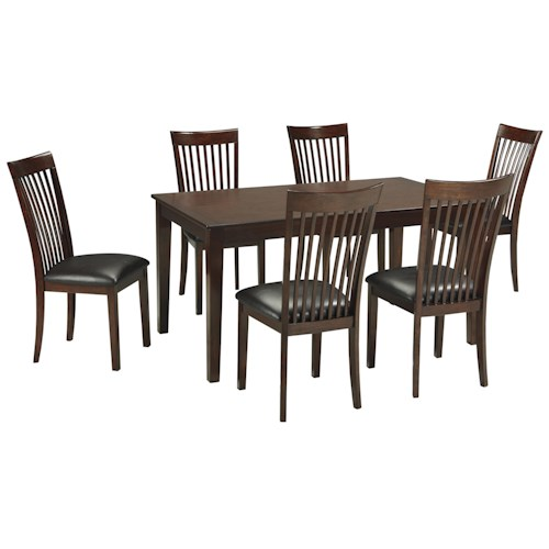 Signature Design by Ashley Mallenton Mission Style 7 Piece Dining Room Rectangular Table Set