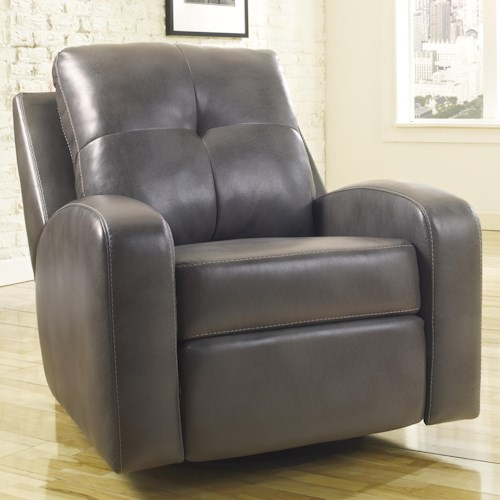 Signature Design by Ashley Mannix DuraBlend - Gray Contemporary Swivel Glider Recliner