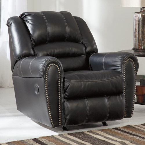 Signature Design by Ashley Manzanola Rocker Recliner with Nailhead Trim
