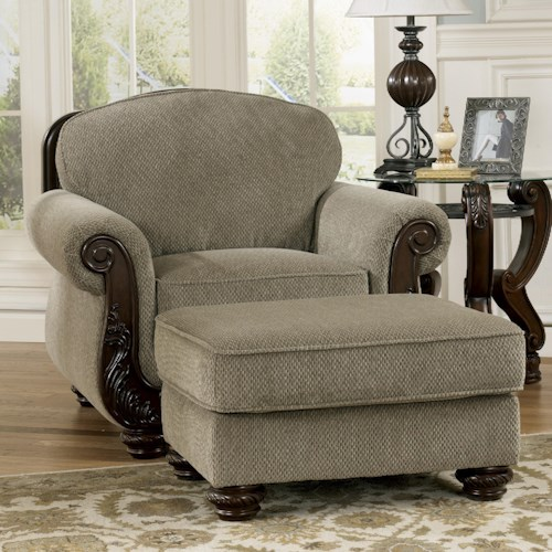 Signature Design by Ashley Martinsburg - Meadow Traditional Chair & Ottoman with Carved Wood Trim