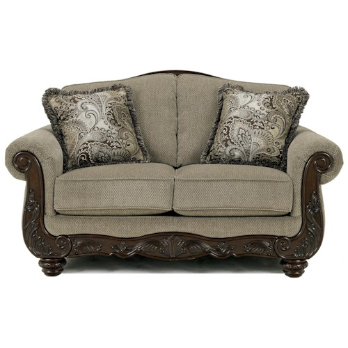 Signature Design by Ashley Martinsburg - Meadow Traditional Camel Back Loveseat with Exposed Wood Trim