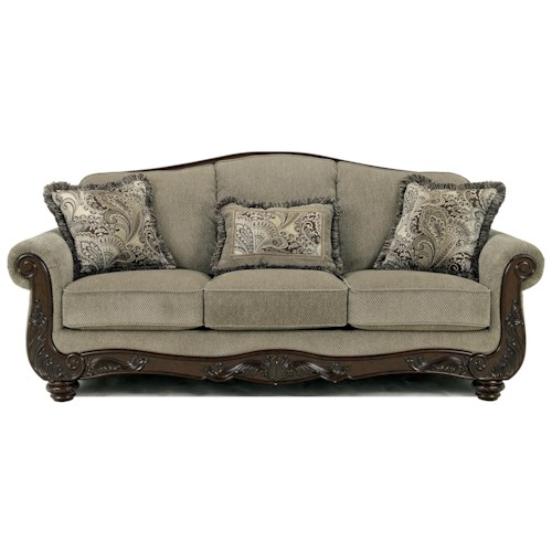 Signature Design by Ashley Martinsburg - Meadow Traditional Camel Back Sofa with Exposed Wood Trim