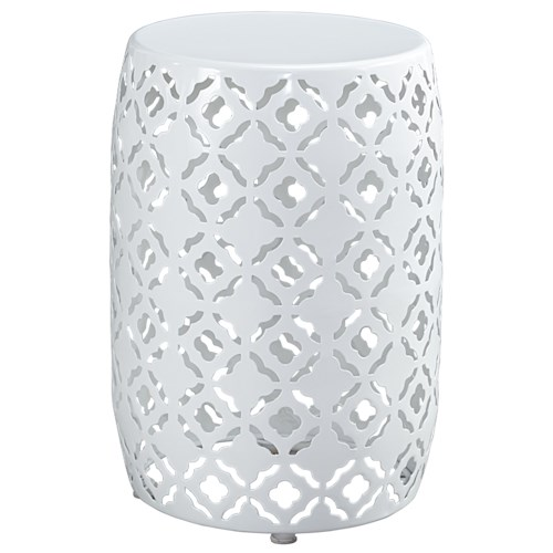 Signature Design by Ashley Marxim Moroccan Drum Table Style Round End Table in White Finish