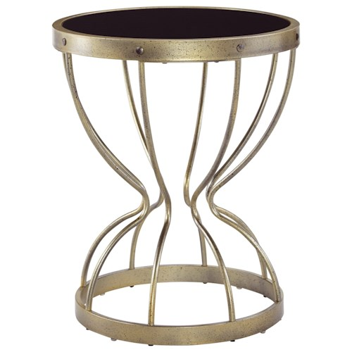 Signature Design by Ashley Marxim Vintage Gold Finish Round End Table with Tempered Black Glass Top