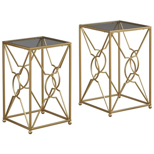 Signature Design by Ashley Marxim Contemporary Gold Finish Nesting End Tables with Clear Glass Tops