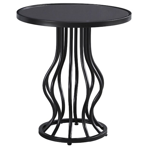 Signature Design by Ashley Marxim Contemporary Round End Table with Shaped Metal Base and Round Glass Top