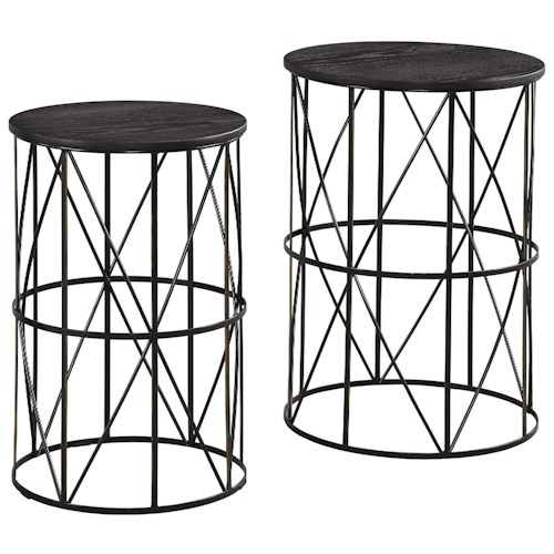 Signature Design by Ashley Marxim Black Finish Wire Metal Nesting End Tables with Espresso Finish Wood Tops