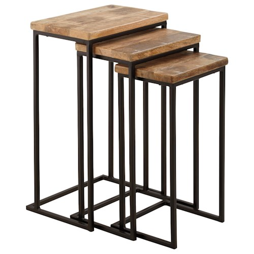 Signature Design by Ashley Marxim Nesting End Tables with Metal Bases & Rustic Solid Mango Tops