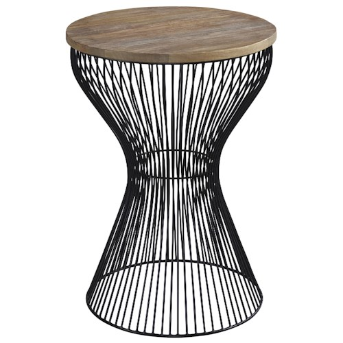 Signature Design by Ashley Marxim Bent Wire Drum Style Round End Table with Light Brown Wood Top