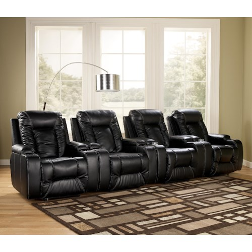 Signature Design by Ashley Matinee DuraBlend® - Eclipse Contemporary 4 Piece Theater Seating Group with Power Recline
