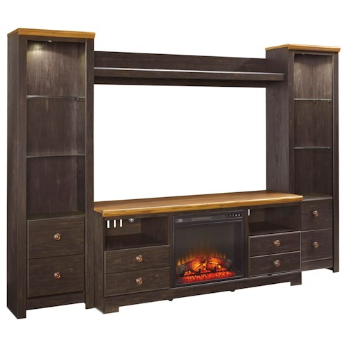 Signature Design by Ashley Maxington Large TV Stand w/ Fireplace, 2 Tall Piers and Bridge