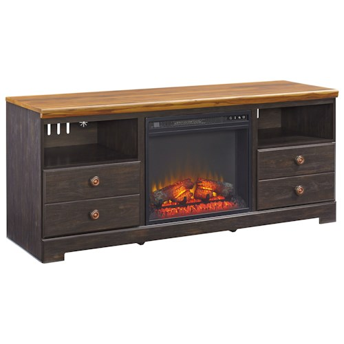 Signature Design by Ashley Maxington Two-Tone Large TV Stand with Fireplace Insert