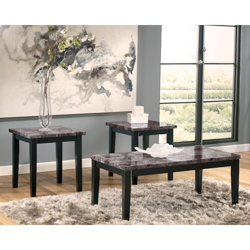 Signature Design by Ashley Maysville Faux Marble Top 3-Piece Occasional Table Set