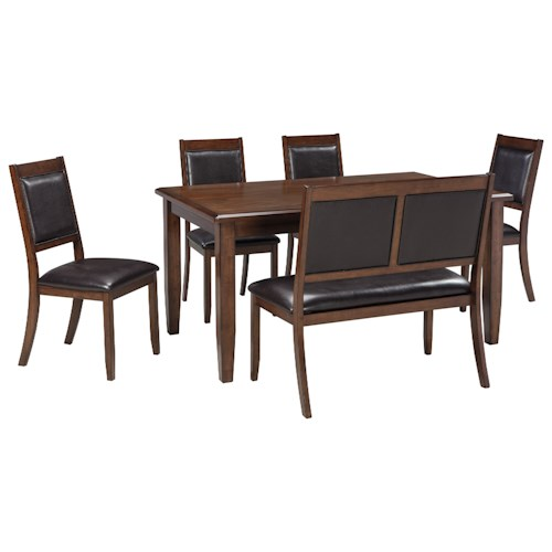 Signature Design by Ashley Meredy 6-Piece Dining Room Table Set with Bench