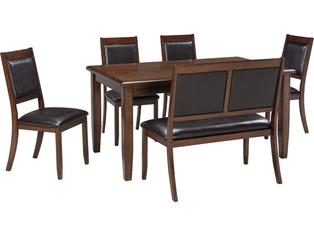 Ashley dining room furniture - Signature Design By Ashley Meredy 6 Piece Dining Room Table Set With Bench John V Schultz Furniture Table Chair Set With Bench
