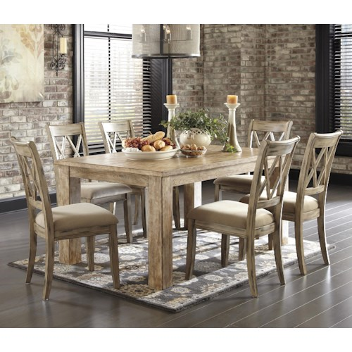 Signature Design by Ashley Mestler 7-Piece Table Set with Antique White Side Chairs with Upholstered Seats