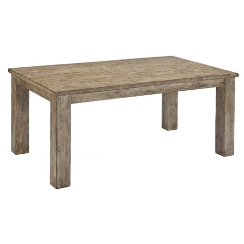 Signature Design by Ashley Mestler Driftwood Finish Rectangular Dining Room Table with Block Legs