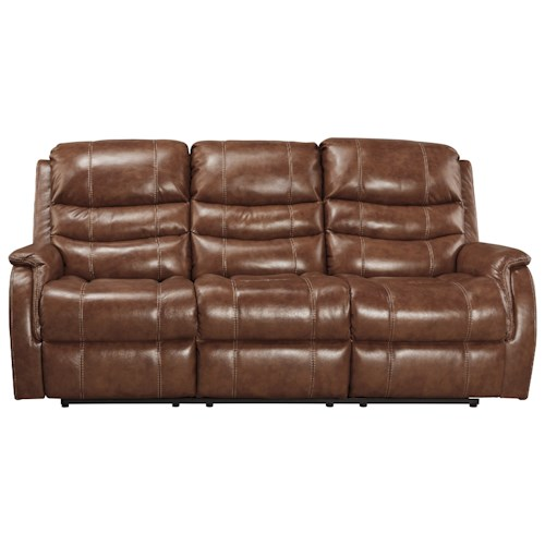 Signature Design by Ashley Metcalf Leather Match Power Reclining Sofa w/ Adjustable Headrest
