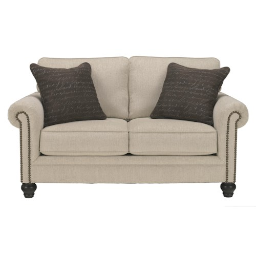 Signature Design by Ashley Milari - Linen Transitional Loveseat with Rolled Arms with Nail Head Trim