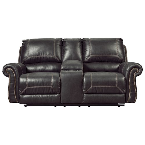Signature Design by Ashley Milhaven Double Reclining Power Loveseat w/ Console with Rolled Arms & Nailhead Trim