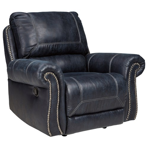 Signature Design by Ashley Milhaven Rocker Recliner with Rolled Arms & Nailhead Trim