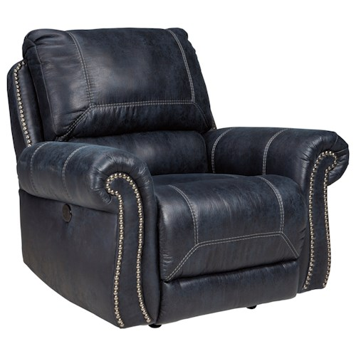 Signature Design by Ashley Milhaven Power Rocker Recliner with Rolled Arms & Nailhead Trim