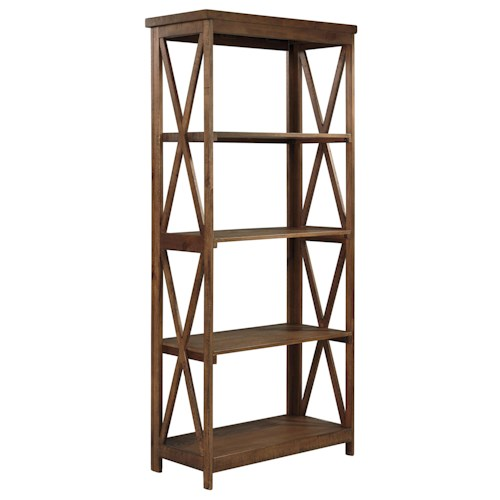 Signature Design by Ashley Minbreeze Pine Veneer Large Bookcase with 4 Shelves & X-Base Sides