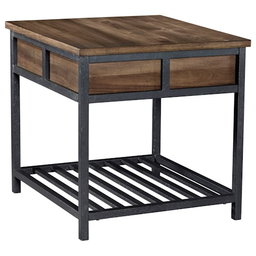 Signature Design by Ashley Monilee Square End Table with Acacia Veneer & Metal Slat Shelf