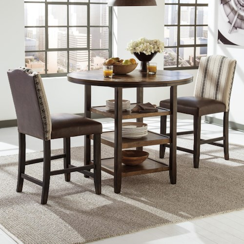 Signature Design by Ashley Moriann 3-Piece Counter Table Set with Fabric/Vinyl Barstools
