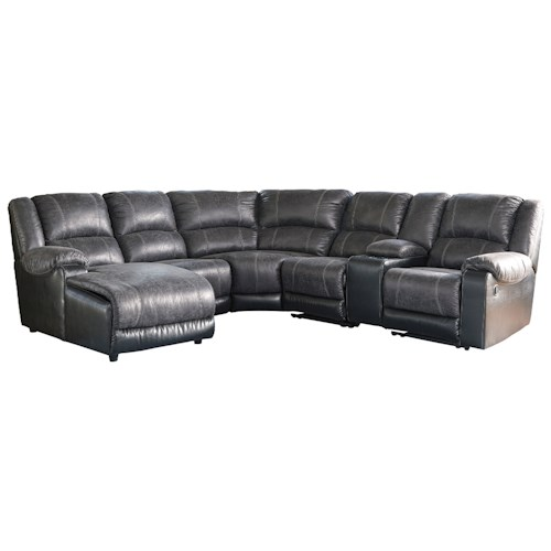 Signature design by ashley nantahala faux leather for Ashley furniture leather chaise